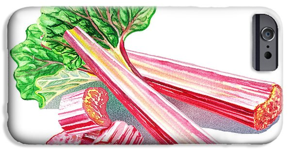 Sour iPhone Cases - Rhubarb Stalks iPhone Case by Irina Sztukowski
