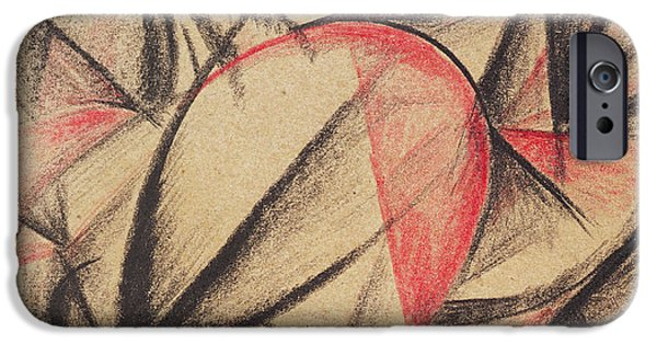 Red And Black iPhone Cases - Rhythm of Forms iPhone Case by Alexander Bogomazov