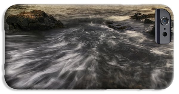 Maine Roads iPhone Cases - Rhythm of the Surf - Little Hunters Beach iPhone Case by Thomas Schoeller