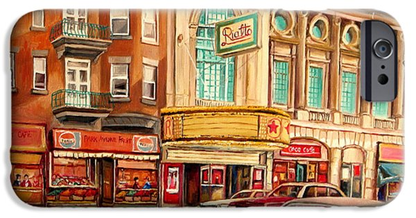 Montreal Storefronts Paintings iPhone Cases - Rialto Theatre Vintage Movie Marquee Fifties Cars Classic Signs Montreal Paintings Cspandau Art iPhone Case by Carole Spandau