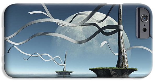 Moon iPhone Cases - Ribbon Island iPhone Case by Cynthia Decker