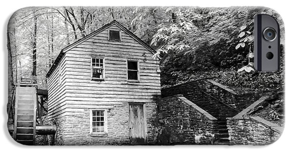 Tennessee Historic Site iPhone Cases - Rice Grist Mill Norris Dam State Park Tennessee - BW iPhone Case by Cynthia Woods
