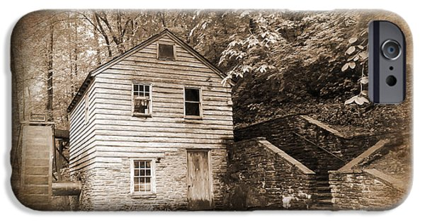 Tennessee Historic Site iPhone Cases - Rice Grist Mill Norris Dam State Park Tennessee Textured iPhone Case by Cynthia Woods