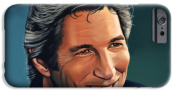 Chicago Paintings iPhone Cases - Richard Gere iPhone Case by Paul  Meijering