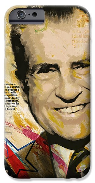 Thomas Jefferson Paintings iPhone Cases - Richard Nixon iPhone Case by Corporate Art Task Force
