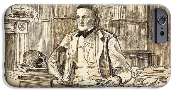 Moa iPhone Cases - Richard Owen In His Study, 1883 iPhone Case by Paul D. Stewart