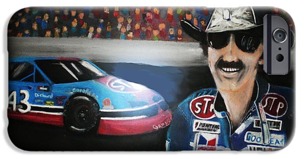 Stp iPhone Cases - Richard Petty and STP #43 Car iPhone Case by Shannon Gerdauskas