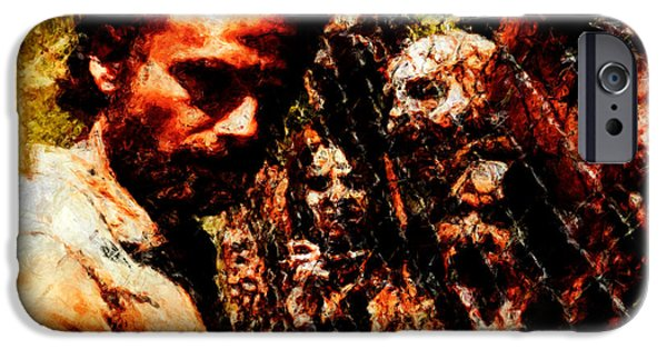 Abstractions iPhone Cases - Rick Grimes and Zombies iPhone Case by Dead Art