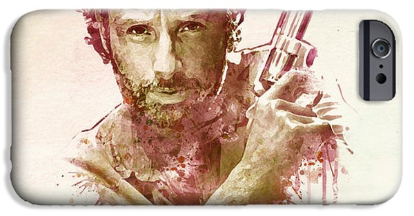 Police Art iPhone Cases - Rick Grimes watercolor iPhone Case by Marian Voicu