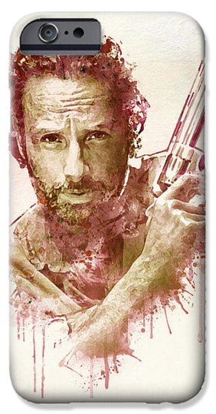 Beard iPhone Cases - Rick Grimes watercolor iPhone Case by Marian Voicu