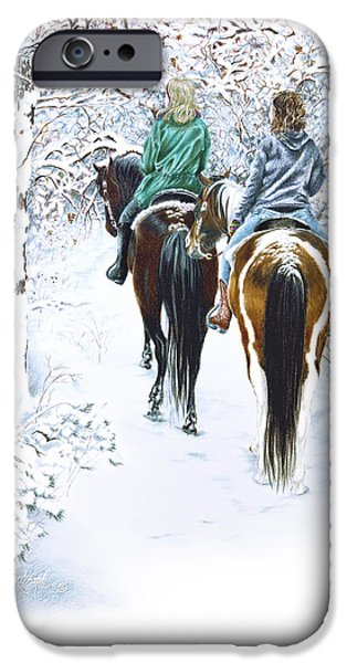 Winter Wonderland Drawings iPhone Cases - Ride into Faerieland iPhone Case by Jill Westbrook