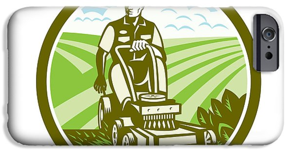 Field. Cloud iPhone Cases - Ride On Lawn Mower Vintage Retro iPhone Case by Aloysius Patrimonio