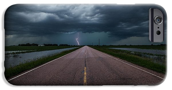 Floods Photographs iPhone Cases - Ride the Lightning iPhone Case by Aaron J Groen