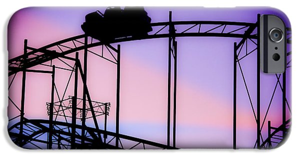 Silhoette iPhone Cases - Ride the Wild Cat - Roller Coaster iPhone Case by Colleen Kammerer
