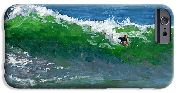 Storm Paintings iPhone Cases - Ride the Wild Wedge iPhone Case by Alice Leggett