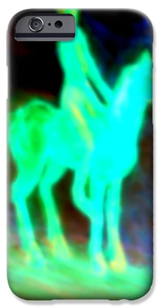 Disc Paintings iPhone Cases - Rider In The Dark iPhone Case by Hilde Widerberg