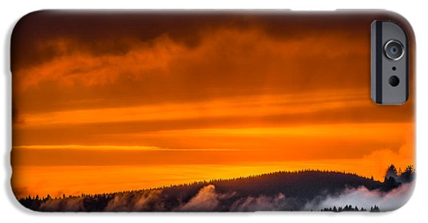 Berry iPhone Cases - Ridge of Mist at Sunset iPhone Case by Greg Nyquist