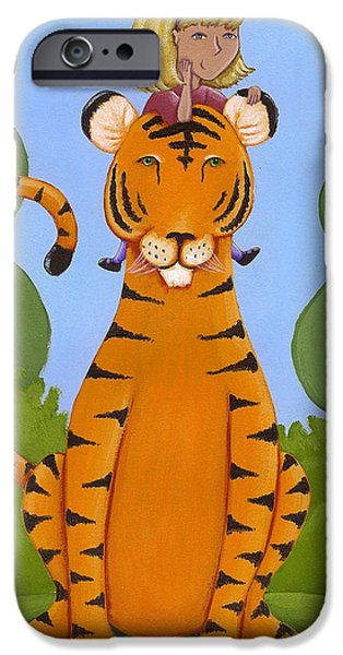 Animal Drawings iPhone Cases - Riding a Tiger iPhone Case by Christy Beckwith