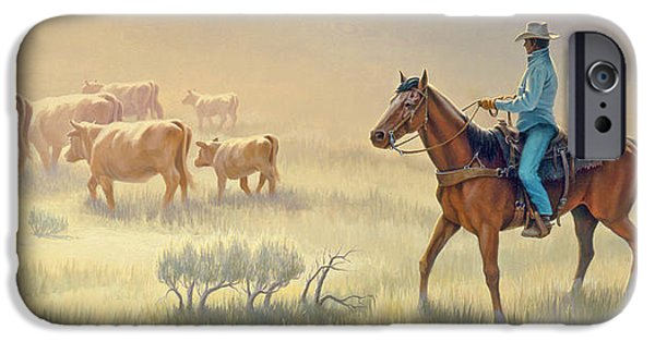 Cowboy iPhone Cases - Riding Drag iPhone Case by Paul Krapf