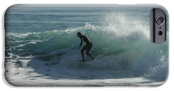 Santa Cruz Surfing iPhone Cases - Riding It In iPhone Case by Donna Blackhall