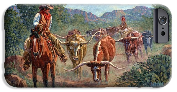 Steer Paintings iPhone Cases - Riding Point iPhone Case by Randy Follis