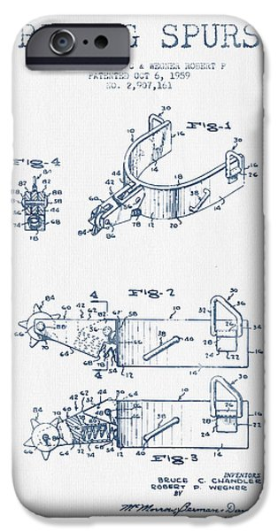 Riding iPhone Cases - Riding Spurs Patent Drawing from 1959 - Blue Ink iPhone Case by Aged Pixel
