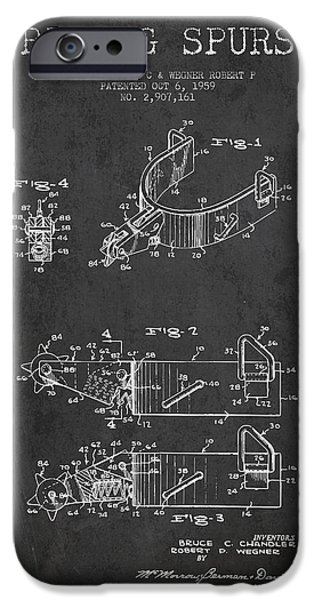 Riding iPhone Cases - Riding Spurs Patent Drawing from 1959 - Dark iPhone Case by Aged Pixel