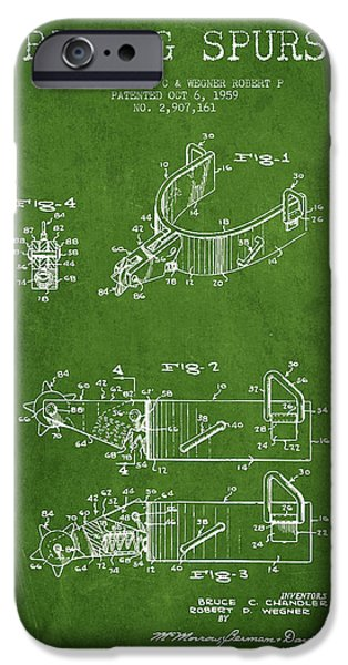Riding iPhone Cases - Riding Spurs Patent Drawing from 1959 - Green iPhone Case by Aged Pixel