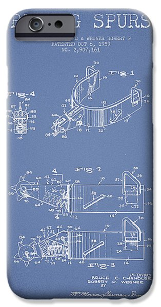 Riding iPhone Cases - Riding Spurs Patent Drawing from 1959 - Light Blue iPhone Case by Aged Pixel