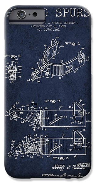 Riding iPhone Cases - Riding Spurs Patent Drawing from 1959 - Navy Blue iPhone Case by Aged Pixel