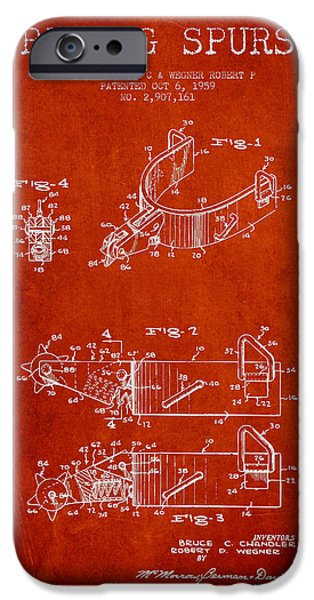 Riding iPhone Cases - Riding Spurs Patent Drawing from 1959 - Red iPhone Case by Aged Pixel