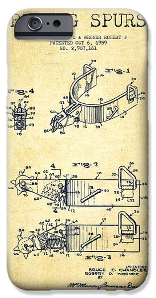 Riding iPhone Cases - Riding Spurs Patent Drawing from 1959 - Vintage iPhone Case by Aged Pixel