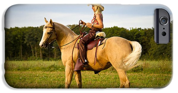 Model iPhone Cases - Riding the Horse iPhone Case by Norbert Waldorf