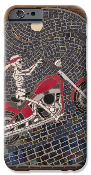 Transportation Ceramics iPhone Cases - Riding the Midnight Rainbone iPhone Case by Pj Flagg Tongue in Chic