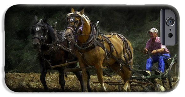 Machinery iPhone Cases - Riding the Plow - Painting iPhone Case by F Leblanc