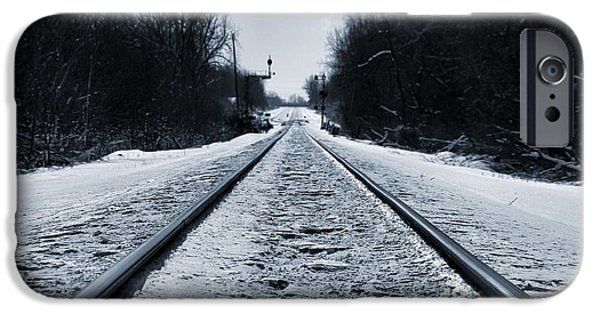 Caboose Photographs iPhone Cases - Riding The Rails In Winter iPhone Case by Dan Sproul
