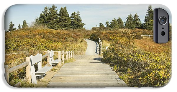 Sand Dunes iPhone Cases - Ried State Park Beach Boardwalk on the Maine Coast iPhone Case by Keith Webber Jr