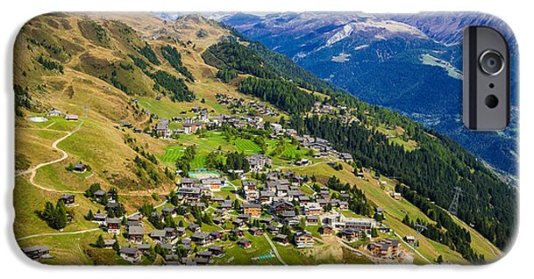 Swiss Landscape iPhone Cases - Riederalp Valais Swiss Alps Switzerland Europe iPhone Case by Matthias Hauser
