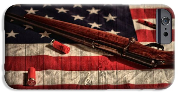 Constitution iPhone Cases - Rifle And Flag iPhone Case by Dan Sproul