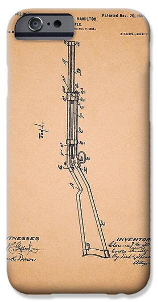 Weapon Drawings iPhone Cases - Rifle Patent 1900 iPhone Case by Mountain Dreams