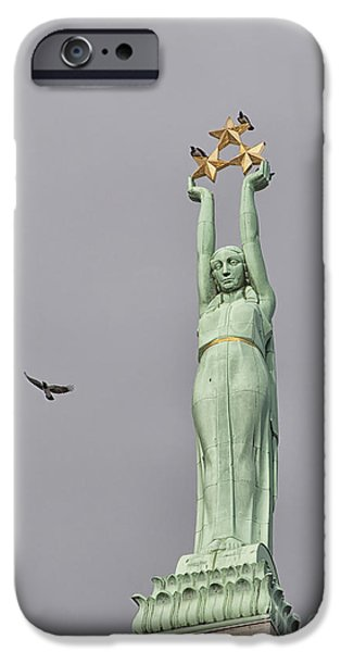 Star Alliance Photographs iPhone Cases - Riga Freedom Monument 03 iPhone Case by Antony McAulay