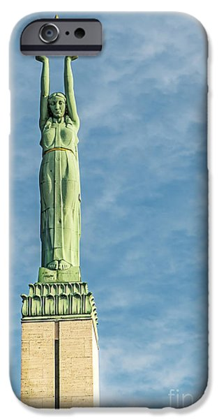 Star Alliance Photographs iPhone Cases - Riga Freedom Monument iPhone Case by Antony McAulay