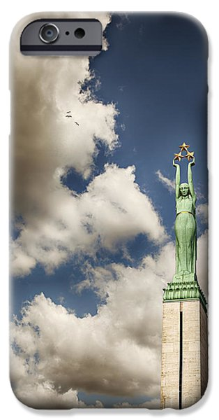 Star Alliance Photographs iPhone Cases - Riga freedom monument iPhone Case by Sophie McAulay