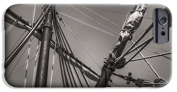 Pirate Ship iPhone Cases - Rigging Lines Of a Caravel Sailing Ship - Monochrome iPhone Case by F Leblanc