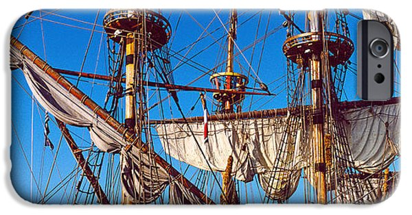 Sailing iPhone Cases - Rigging Of A Tall Ship, Finistere iPhone Case by Panoramic Images