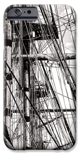 Tall Ship iPhone Cases - Rigging iPhone Case by Olivier Le Queinec