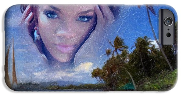 Hairstyle Digital iPhone Cases - Rihanna iPhone Case by Anthony Caruso