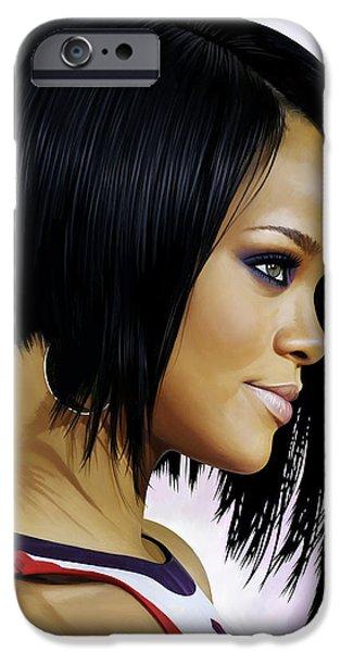 Rihanna iPhone Cases - Rihanna Artwork iPhone Case by Sheraz A