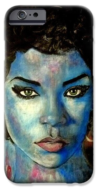 Rihanna Paintings iPhone Cases - Blue Lady iPhone Case by Christopher Brown