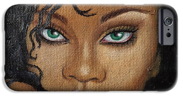 Rihanna Paintings iPhone Cases - Rihanna iPhone Case by Lauri Loewenberg